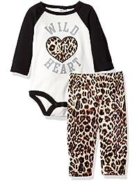 BON BEBE Baby Girls 2 Piece Rear Snap Bodysuit and Velour Legging Set