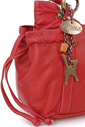 """Ledertragetasche """"Mia"""" von Catwalk Collection - GRÖßE: B: 32 H: 19 T: 14 cm Rot"""