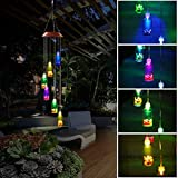 Pathonor Color-Changing LED Solar Mobile Wind Glockenspiel, LED Changing Light Farbe Sechs Wishing Flasche Wind Chimes Für Haus/Party/Nacht Garten Dekoration rot Color-Changing