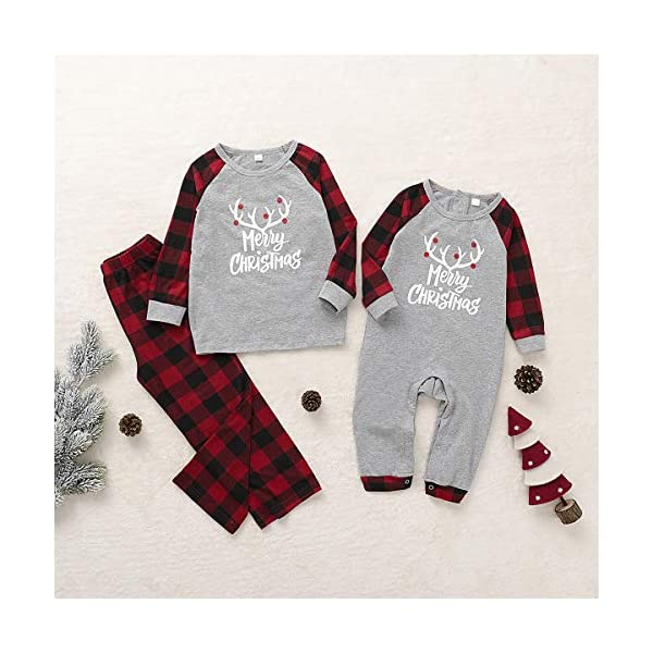Borlai Pijamas Navidad para Familias Invierno Otoño Top+Pantalones Ropa de Dormir para Mamá Papá Niños Bebé Conjuntos… 2