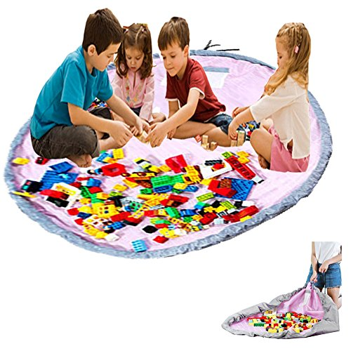 xhforever Kinder Aufräumsack Spieldecke Spielzeug Speicher Tasche Aufbewahrung Beutel Spielzeugaufbewahrung 150cm (Strand-taschen-teppich)