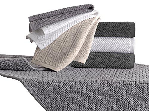 Set di asciugamani da bagno, asciugamano 60x100cm e ospite 40x60cm, lavorazione jacquard, 100% cotone con filo doppio ritorto, 480gr.mtq, misure piene, colore grigio chiaro