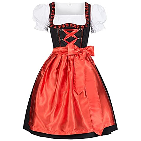 3 piece Iwona red traditional dirndl set: dress, blouse and apron for Oktoberfest, carnivals or theme parties Size