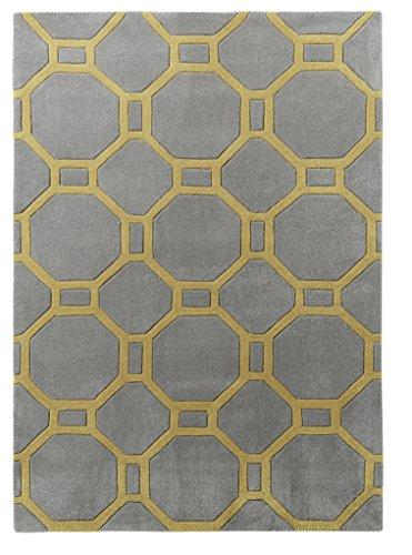 HomeLinenStore Moderne, getuftet Geometrische Octagon Teppich, acryl, Grey/Yellow, 120 x 170 cm (Schwarz Octagon Teppich)