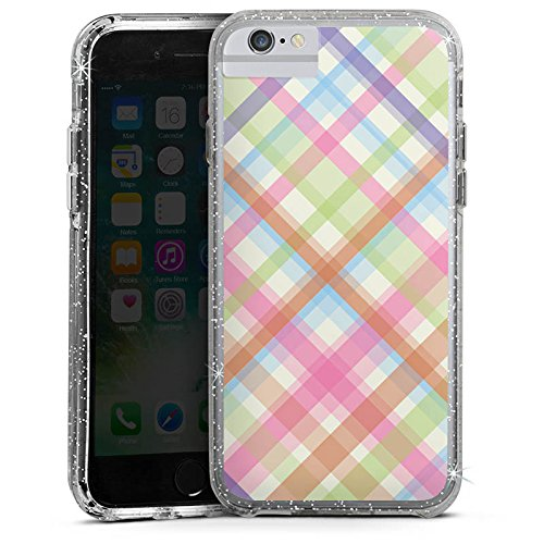 Apple iPhone 7 Bumper Hülle Bumper Case Glitzer Hülle Pastell Karo Colourful Bunt Bumper Case Glitzer silber