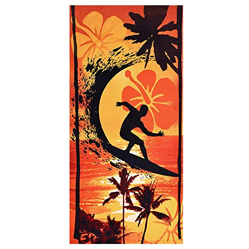 Souarts Adult Soft Quick Dry Lightweight Absorbent Plush Microfiber Sunset Pattern Beach Towel for Gym Travel (Orange)