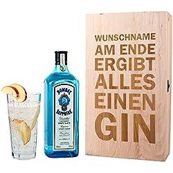 Bombay Sapphire Gin Geschenkset - Am Ende ergibt alles einen Gin - mit 1 l Bombay Sapphire und graviertem Glas in Holzverpackung mit Wunschnamen Bombay Sapphire