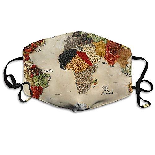 Unisex mappa del mondo diverse spezie cibo simboli confortevole anti inquinamento mouth-muffle maschere bocca viso masch
