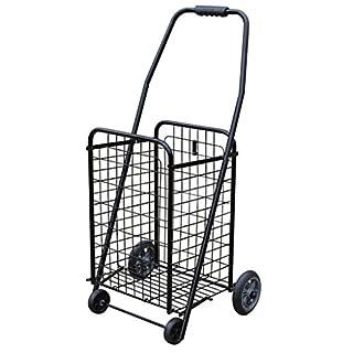 Gtt Einkaufswagen-Kleiner Zugwagen-Laufkatzen-Treppe-Einkaufswagen-tragbarer faltender Alter Handwagen-Laufkatzen-Gepäck-Anhänger (Color : Black, Size : 26 * 24 * 76cm)