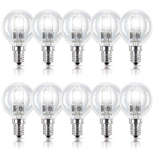 10 x Philips Eco Halogen Glühbirne 28W = 35W / 40W E14 Glühlampe klar Tropfen dimmbar