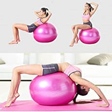 Skyfun Gym Ball Stress Anti Burst with Foot Pump Soft Medicine Ball Fitness Fitball Swiss Ball for Total Body Fitness, Abdominal Toner-Multi Coloured