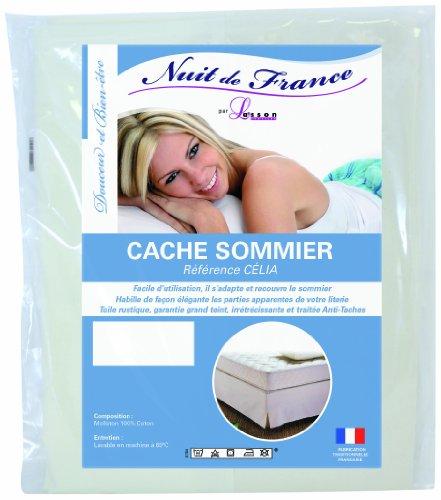 Nuit de France 329371 90/190 Cache Sommier Déco Coton Ecru 190 x 90 x 1 cm