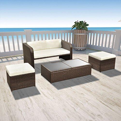 vidaXL 9-tlg. Gartenmöbel-Lounge-Set Sofa-Set Poly Rattan Braun - 2