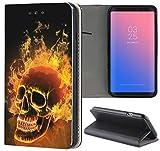 Samsung Galaxy S5 / S5 Neo Hülle Premium Smart Einseitig Flipcover Hülle Samsung S5 Neo Flip Case Handyhülle Samsung S5 Motiv (1479 Totenkopf Skull Feuer)