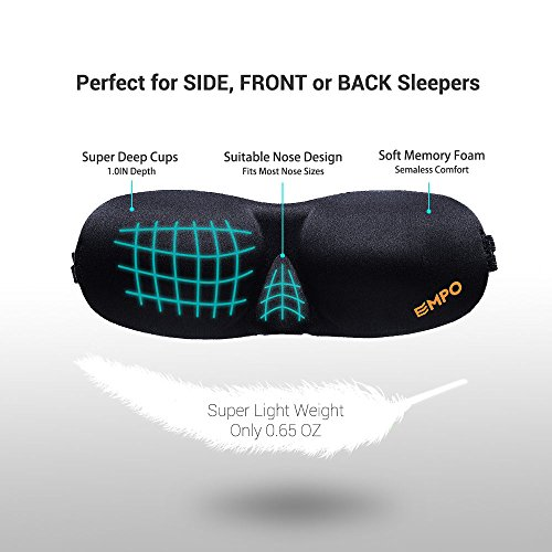 EMPO® Sleep Mask Soft Memory Foam Contoured Eye Mask with Free Ear Plugs – LIFETIME WARRANTY – Sleep Deeply Anywhere Anytime – Two SoftMAX© Adjustable Straps to Fit All Head Sizes – Ultra Lightweight and Comfortable – Allows You to Blink & Breathe Freely – Wake Up Completely Refreshed – Helps with Migraines/Insomnia, Perfect for Travel, Shift Work and Meditation 5169ZzECe L