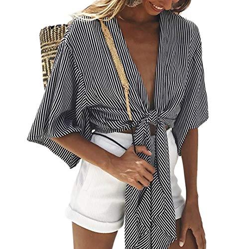 Diagonale Saum Top (Aesyorg Gestreiftes Hemd mit Schleife Schnür-Top Lässiges Spitzenhemd mit V-Ausschnitt Hemdoberteil mit Bindedekor)