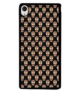 PrintVisa Cute Skull Doodle High Gloss Designer Back Case Cover for Sony Xperia M4 Aqua :: Sony Xperia M4 Aqua Dual