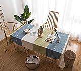 GUOAI Bestickte Quaste Spitze Moderne Minimalistische Baumwolle Und Leinen Tischdecke Stoff Wohnzimmer Couchtisch Tischdecke Tischdecke Rechteck,Grid,140 * 140cm