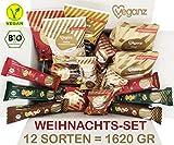 Veganz BIO Weihnachts-Set mit 12 Sorten Lebkuchen - Spekulatius - Nougat & Marzipan - 1620 Gr - Vegane Süßigkeiten (Weihnachts-Set)