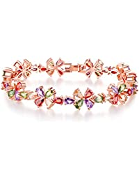 Peora Limited Edition Exclusive AAA Swiss CZ Glamorous Floral Designed Multicolor Bracelet for Girls
