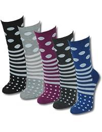 12 | 24 oder 36 Paar Damen Teenager Socken Motiv in Streifen Punkte - Qualität von Lavazio®