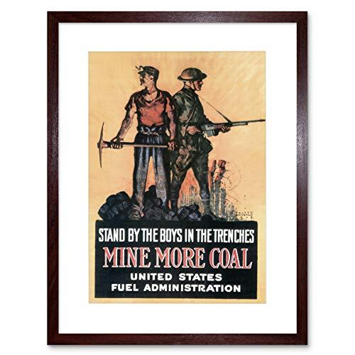 WAR FIRST WORLD MINER SOLDIER VINTAGE ADVERT BLACK FRAMED ART PRINT B12X1895 (Miner Wars)