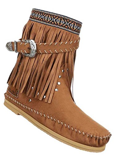 Damen Stiefeletten Schuhe Boots Designer Schlüpfstiefel mit Fransen und Nieten Hellbraun 36 lTlhWA0yK
