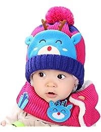 Mounter Enfants Bonnet Hiver,Garcon Fille Tricot Chapeau+ écharpe Belle  Douce Chapeau pour Enfants 2a72bfb3085