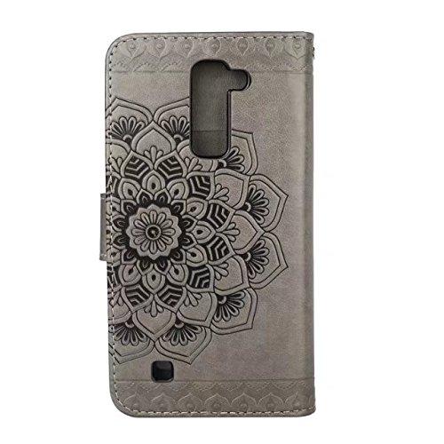 YHUISEN LG K8 Fall, geprägtes halbes Blumenmuster [Handgelenkschlaufe] Premium PU Leder Geldbörse Beutel Flip Stand Case für LG K8 / Escape 3 / Phoenix 2 ( Color : Gold ) Gray