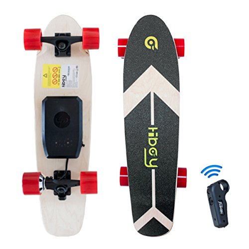 Hiboy - Mini Elektrisches Skateboard 4 Rad mit Intelligent Motor [7 Schichten Bambus Board] und Drahtlose Fernbedienung - 3,6 kg Portable Skate Board für Beifahrer, Kinder und Erwachsene - Modell S11