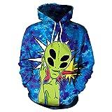 GZYD Sudadera Encapuchado Manga Larga Extraterrestre 3D Digital Impresión Fiesta Disfraz Festivo Suelto Cómodo Suéter Jersey,XXL