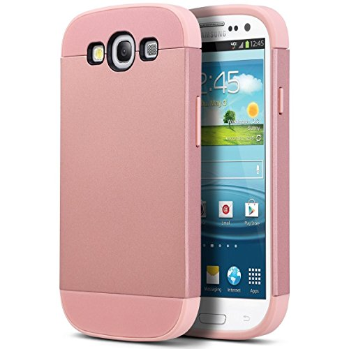 ULAK Cover per Samsung Galaxy S3/S3 NEO - (I9300) - Custodia ibrida protettiva rigida con parte esterna in silicone TPU- proteggischermo trasparente (Oro Rosa)