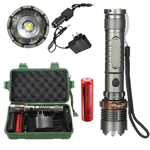 Linterna LED, Xinan 8000Lm T6 LED Linterna Antorcha Zoomable Tactical + 18650 Cargador Caja Plata