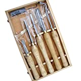 Set di scalpelli per tornio per legno professionale, set di 5 pezzi, set di scalpelli per tornitura HSS con scatola in legno, tornio per sgorbie per legno per fai-da-te