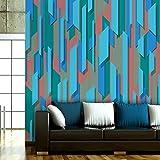 murando - PURO TAPETE - Realistische Tapete ohne Rapport und Versatz - Kein sich wiederholendes Muster - 10m Vlies Tapetenrolle - Wandtapete - modern design - Fototapete - Rosa Rot Weiß Beige Gelb Orange Blau f-A-0041-j-d
