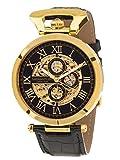 Calvaneo 1583 Herren-Armbanduhr Caliber Gold Analog Automatik Leder schwarz 107936