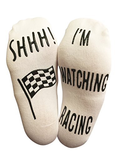 BRING ME SOCKS 'SHHH I'm Watching Racing' Funny Ankle Socks - For Racing Fans