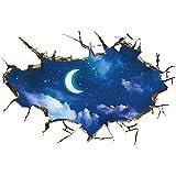 Pared de Etiqueta, Logobeing 3D Estrella Serie Piso Pared Pegatina Extraíble Mural Calcomanías Vinilo Arte Sala Decoración (Azul)