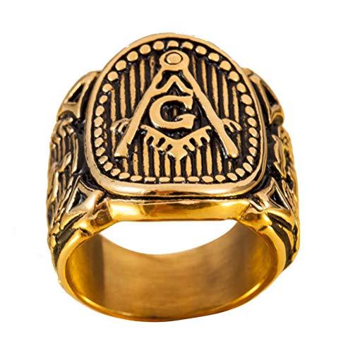 Wind Goal Gold Freimaurer Ring für Männer Edelstahl AG Ring Band Freimaurer Religion Ring Größe 8-13 (Gold Ag Halloween)