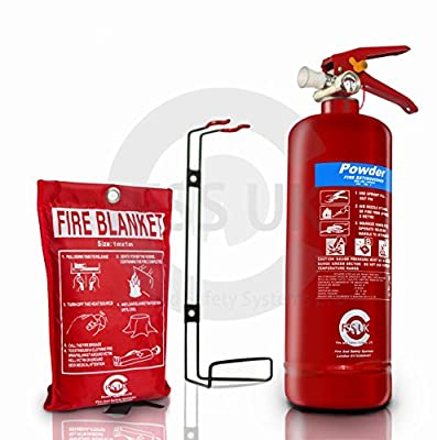 PREMIUM FSS UK 2 KG ABC POWDER BRITISH STANDARD KITEMARKED FIRE EXTINGUISHER With CE MARKED FIRE BLANKET. IDEAL FOR HOMES KITCHENS WORKPLACE WORKSHOPS OFFICES CARS VANS WAREHOUSES GARAGES HOTELS RESTAURANTS