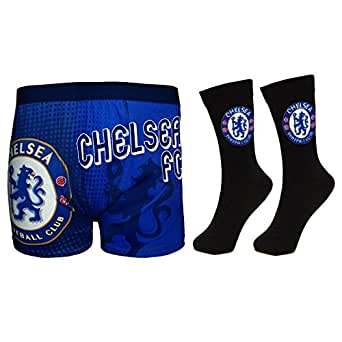Chelsea FC Official Football Gift Set Mens Dress Socks Boxer Shorts Small