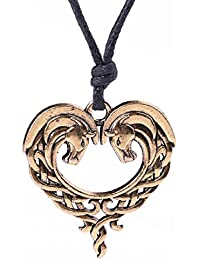 My Shape Irish Knots Animal Necklace Double Horse Heart Shape Pendant Necklace for Women Gifts