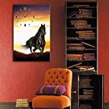 Golden_flower Modernes Wohnzimmer Esszimmer Dekorationsmalerei, Leise Uhr Leinwand Gemälde, Einzelne Wanduhr, Mercedes-Benz Pferd, Einschließlich Rahmen, Uhr und Gemälde, 1 STÜCK, 28x40 cm