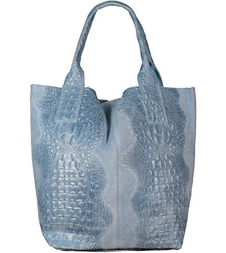 Kroko Leder (Freyday Damen Echtleder Shopper mit Schmucktasche in vielen Farben Schultertasche Henkeltasche Handtasche Metallic look (Hellblau Kroko))