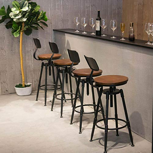 KingSaid Chaise de Bar - Tabouret de Bar Haut en Bois et Métal Industriel - avec Dossier pour Cuisine Vintage