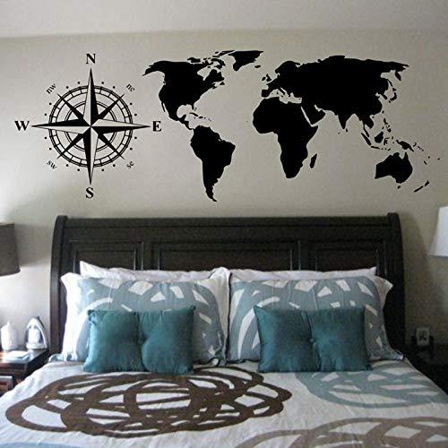 Karte wandaufkleber Kompasse Weltkarte Wandtattoos Schlafzimmer Kopfteil