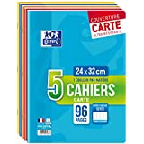 Oxford Scolaire Lot de 5 Cahiers agrafés 24x32 96 Pages grands carreaux assortis
