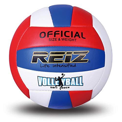 VCB Reiz Professional Soft Volleyball Wettkampf-Trainingsball Offizielle Größe - weiß & rot & blau