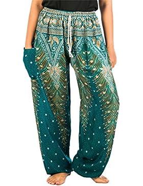Lofbaz Mujer Pantalones Harem Boho del lazo del pavo real Flaral Funky