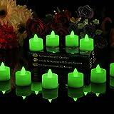 PK Green 12er Set Flammenlose Teelichter mit LED Grün - Batterie Votivkerzen mit Beweglicher Flamme für Party, Deko